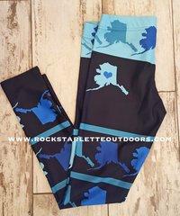 Love Alaska Leggings, All Over Map, NEW! from Rockstarlette Outdoors