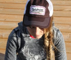 Snow Camo Patch Logo Hats, Brown, Rockstarlette Bowhunting Mesh Back