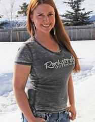 Rockstarlette Outdoors Vintage Wash V Neck T Shirt, Ultra Soft Burnout Fabric, ON SALE