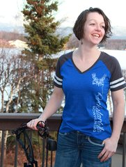 SALE $10 OFF, Blue Color Block T Shirt, Rockstarlette Bowhunting