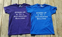 Take A Stand Against Anti Hunters: Anti Bullying T Shirt, Purple, Blue ON SALE