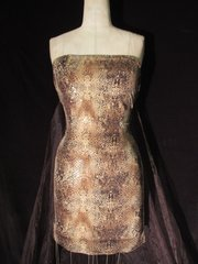 SNAKE PRINT DRESS WITH SHEER ORGANZA TRAIN