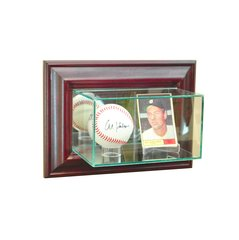 Wall Mount Card and Single Baseball Glass Display Case