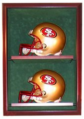 Two Football Helmet Display Case