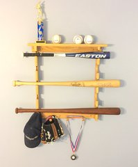 Little league 5 baseball bat or softball bat rack with ball shelf