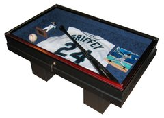 Baseball and Bat Display Case Coffee Table with UV protective Glass