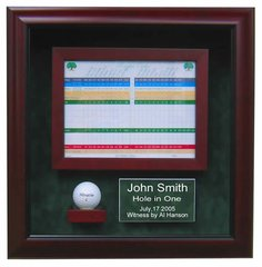 Premium Golf Hole in One Shadow Box with Custom Etched Plate