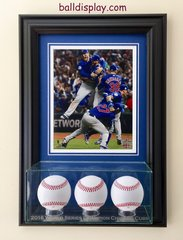2016 World Series Champion Chicago Cubs Triple Baseball Display Case and 8 x 10 Frame
