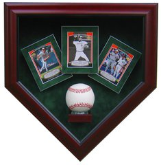 One Baseball and Three Card Display Case Shadow Box