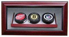 Triple Hockey Puck Premium Display Shadow Box
