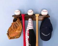 2 Bat rack with 3 baseball shelf and 3 Hat Hooks