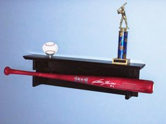 Horizontal Single Baseball Bat Rack with trophy or ball shelf for regular full sized bats