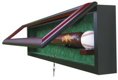 One Baseball Bat and One Baseball Shadow Box Display Case