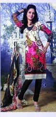 Spun Cotton Black& Cream Lacer Salwar Kameez Churidar Dress Meterial SC 1045C