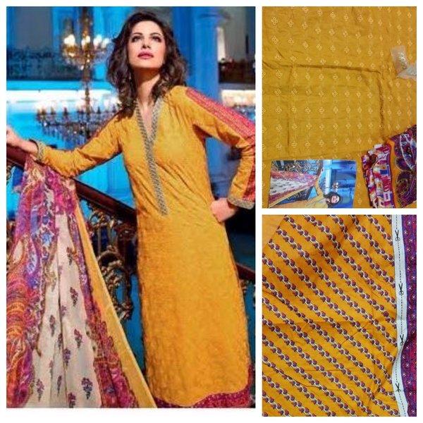 Designer Pakistani Replica Gul Yellow Light Embroidered Dress Material Gul11006