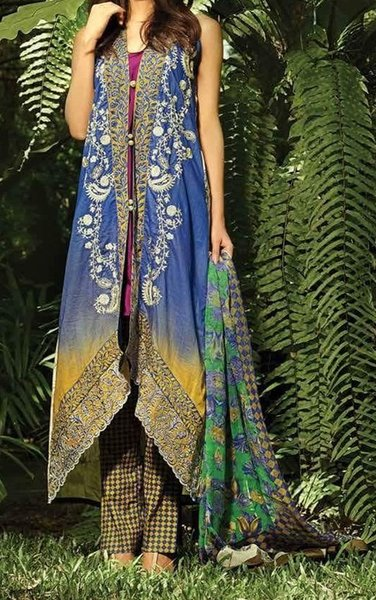 Designer Pakistani Printed Glazed Cotton Blue Pant Style Dress material F5010