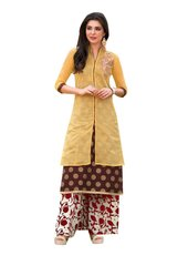 Designer Yellow Rayon Cotton Kora Silk Layered Embroidered Long Kurta Dress Size XL SCKSD210