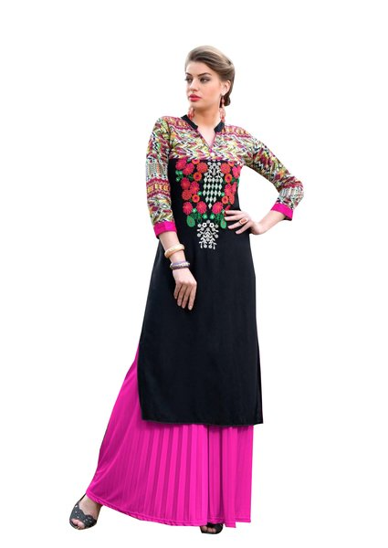 Designer Rayon Cotton Black Embroidered Long Kurta Kurti Size XL SCKS111