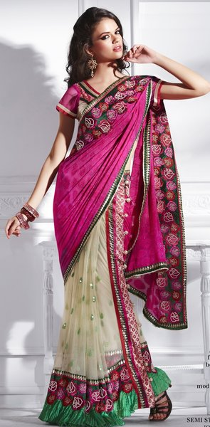 Designer Pink Off white Net and Georgette Embroidered saree SC2238