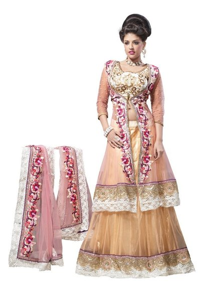 Peach Pink Net Lehenga Choli Dupatta Fabric Only LC184