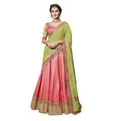 Designer Embroidered Heavy Green Pink Brocade Lehenga Saree SC4081