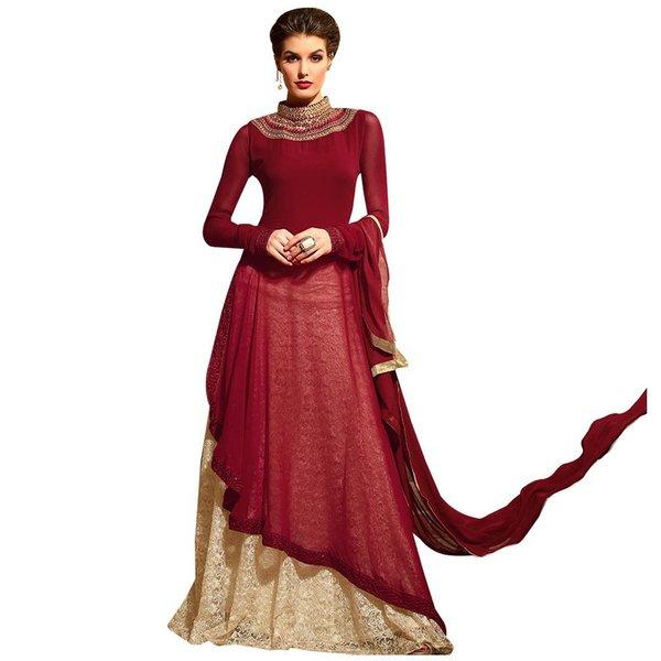 Designer Maroon Cream Semi Stitched kurta and Lehenga Set Dress Material