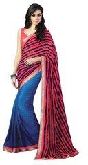 Designer Red Blue Georgette Exclusive Blouse Fabric Saree SC411