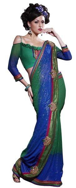 Designer Blue Green georgette embroidered saree SC119
