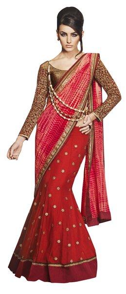 Designer Wedding Partywear Shaded Red Net Georgette Lehenga Saree SC12003