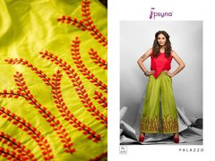 Designer Green Linen Cotton Embroidered Palazo Pants Free Size P701