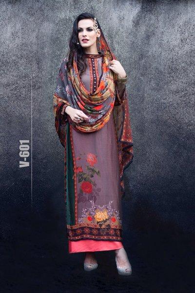 Designer Digital Printed Twill Cotton Kurta with Chiffon Dupatta Fabric Only V601