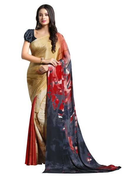 Designer Beige Faux Crepe Abstract Print Saree VAS7106C