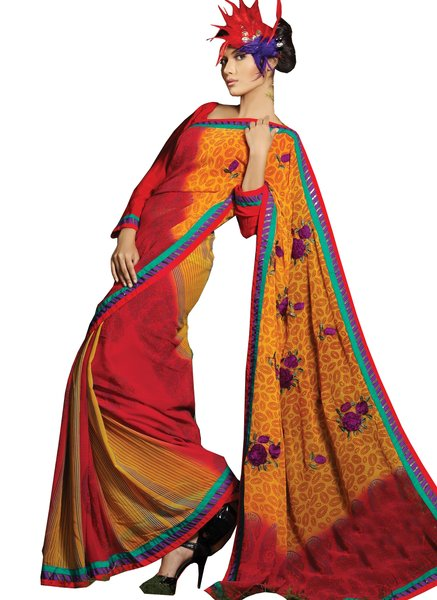 Designer Red Orange Georgette Printed Paisley Floral Saree SC1413