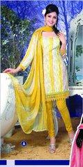 Spun Cotton Yellow Lacer Salwar Kameez Churidar Dress Meterial SC 1057A