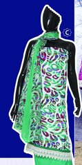 Spun Cotton Green Lacer Salwar Kameez Churidar Dress Meterial SC 1060C