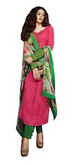 Aditi Rao Cotton Jequard Pink Green Embroidered Dress Material SC9054