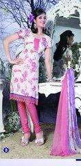 Spun Cotton Pink & White Lacer Salwar Kameez Churidar Dress Meterial SC 1049B