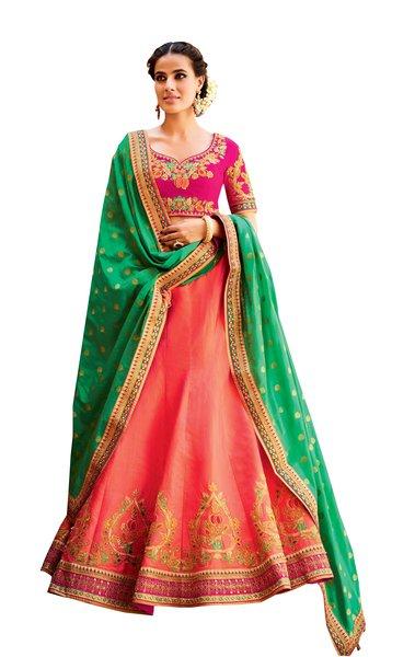 Green Orange Pure Silk Lehenga Choli Dupatta L502