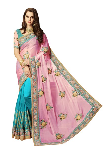 Exclusive Pink Silk Embroidered Saree with designer blouse fabric SC4094