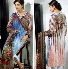 Designer Pakistani Replica Off White French Crepe Printed Dress Material SUR5