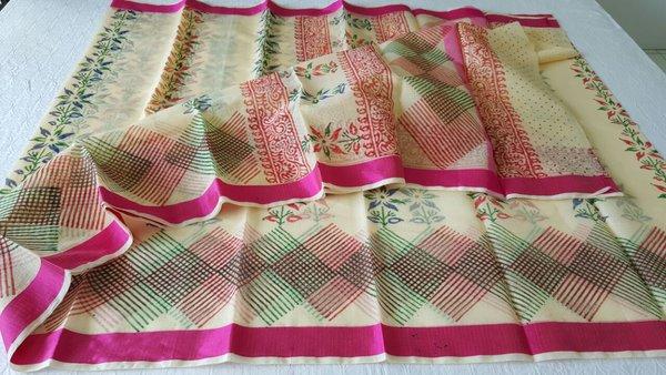 Designer Beige Block Printed Kota Cotton Saree KSC105