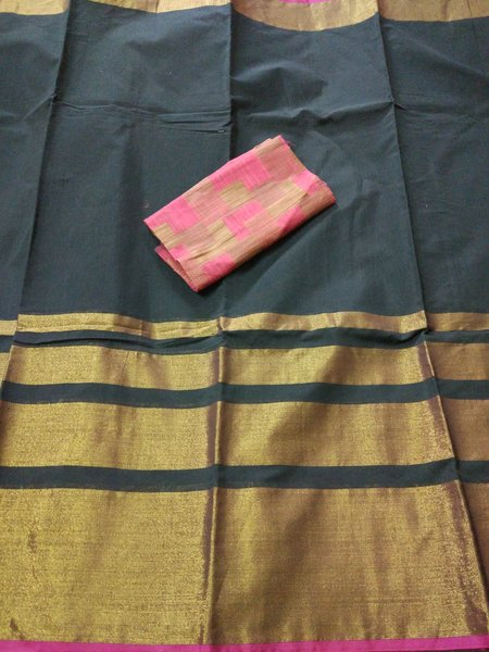 Exclusive Black Chanderi Cotton Silk Saree Antique Zari Border CS46