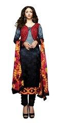 Aditi Rao Cotton Jequard Grey Black Embroidered Dress Material SC9049