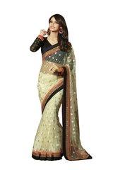 Designer Net Cream Embroidered Saree SC1305