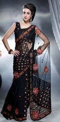 Designer Black Net and Georgette Embroidered Saree SC427