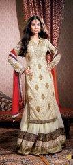 Cream Net Long Kurta Lehenga Choli Dupatta Fabric Only  SC1516