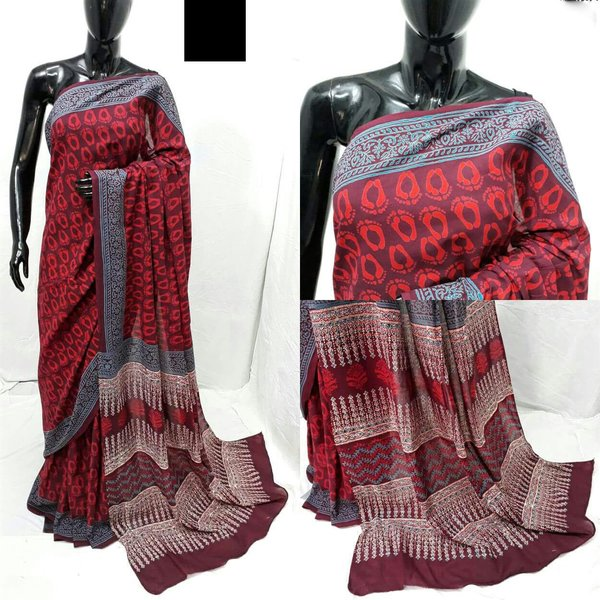 Exclusive Bagru Hand Block Printed Maroon Cotton Saree NV04