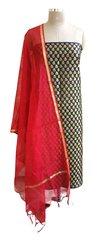 Designer Banarsi Red Cotton Silk Weaven Shalwar Kameez Dress Material BSD04