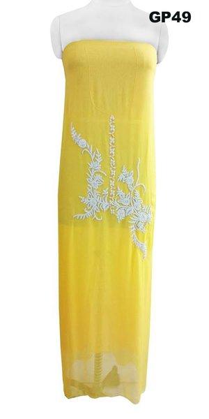 Jaipuri Pearl Hand Work Yellow Georgette Kurti Kurta Fabric GP49