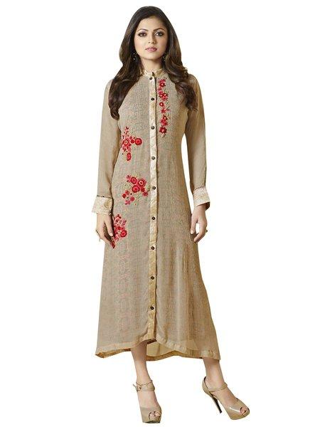 Designer Brown Chiffon Kurti Kurta Dress Size XL SCLT903